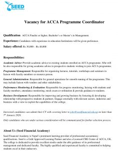 SEED Financial Academy Vacancy Post